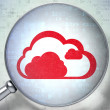 Cloud technology concept:  Cloud with optical glass on digital b - Stock Photo