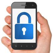 Information concept: Closed Padlock on smartphone — Stok fotoğraf
