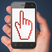 Advertising concept: Mouse Cursor on smartphone — 图库照片