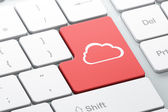 Cloud technology concept: Cloud on computer keyboard background — 图库照片