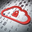 Photo: Cloud computing concept: Cloud Whis Padlock on Binary Code back