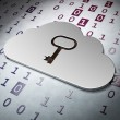 Cloud computing concept: Cloud Whis Key on Binary Code backgrou — Stock Photo #23109758
