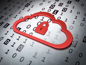 Cloud computing concept: Cloud Whis Padlock on Binary Code back — Stock Photo