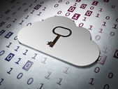Cloud computing concept: Cloud Whis Key on Binary Code backgrou — Photo