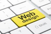 SEO web development concept: Web Design on computer keyboard bac — Foto Stock