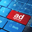 Advertising concept: Ad Agency on computer keyboard background — Stock Photo