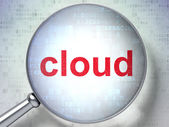 Cloud technology concept: Cloud with optical glass on digital ba — Stockfoto