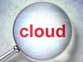 Cloud technology concept: Cloud with optical glass on digital ba — Foto de Stock