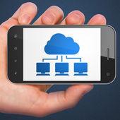 Cloud technology concept: Cloud Network on smartphone — Stock fotografie