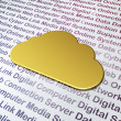 Cloud technology concept: Golden Cloud on Digital Technology bac - Stock Photo