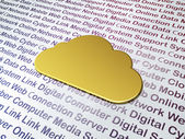 Cloud technology concept: Golden Cloud on Digital Technology bac — 图库照片