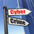 Privacy concept: Cyber Crime on Business Building background — Stock Photo