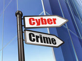 Privacy concept: Cyber Crime on Business Building background — Stok fotoğraf