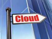 Cloud computing concept: Cloud on Business Building background — Foto de Stock