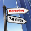 Marketing concept: Marketing Strategy on Business Building backg — Stock Photo