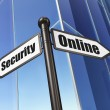 Постер, плакат: Security concept: Online Security on Business Building backgroun