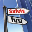 Protection concept: Safety First on Business Building background — Stock Photo