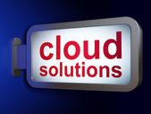 Cloud computing concept: Cloud Solutions on billboard background — Stok fotoğraf