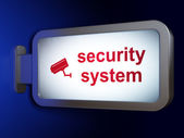 Privacy concept: Security System and Cctv Camera on billboard ba — Stock Photo