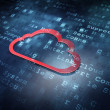 Cloud technology concept: Red Cloud on digital background - Stock Photo
