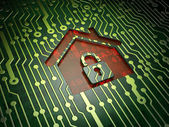Privacy concept: Home on circuit board background — Stock Photo
