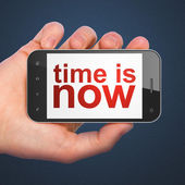 Time concept: Time is Now on smartphone — Stock Photo