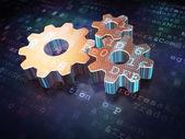 Advertising concept: Golden Gears on digital background — Foto de Stock