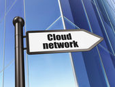 Cloud computing concept: Cloud Network on Building background — Stock Photo