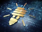 Finance concept: Golden Energy Saving Lamp on digital background — Stock Photo