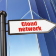 Cloud computing concept: Cloud Network on Building background - Stock Photo