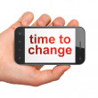 Stock Photo: Timeline concept: Time to Change on smartphone