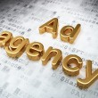 Advertising concept: Golden Ad Agency on digital background — Stock Photo