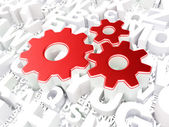 Web development concept: Gears on alphabet background — Stock Photo