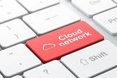 Návrh technologie cloud: Cloud a Cloud síti na počítači ke — Stock fotografie