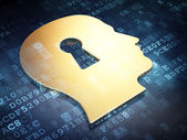 Privacy concept: Golden Head Whis Keyhole on digital background — Stock Photo