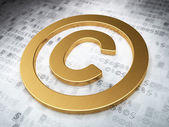 Law concept: Golden Copyright on digital background — Stok fotoğraf