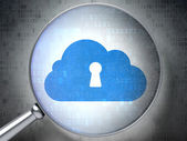 Cloud computing concept: Cloud Whis Keyhole with optical glass — Stock Photo