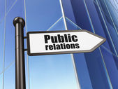 Advertising concept: Public Relations on Building background — Stockfoto