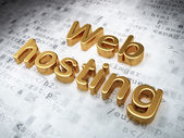 SEO web development concept: Golden Web Hosting on digital backg — Stock Photo