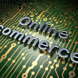Business concept: Online Commerce on circuit board background — Stock Photo