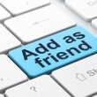 Social media concept: Add as Friend on computer keyboard backgro — Stok fotoğraf
