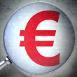 Currency concept: Euro with optical glass on digital background — Stok fotoğraf