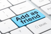 Social media concept: Add as Friend on computer keyboard backgro — Stock Photo