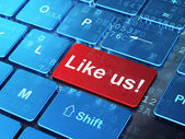 Social network concept: Like us! on computer keyboard background — Foto de Stock