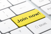 Social network concept: Join now! on computer keyboard backgroun — Stock Photo