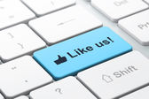 Social network concept: Like and Like us! on computer keyboard b — Stock Photo