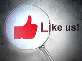 Social network concept: Like and Like us! with optical glass — Stock Photo