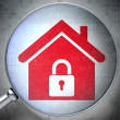 Security concept: Home with optical glass on digital background — Stock Photo