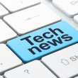 News concept: Tech News on computer keyboard background — Stock Photo