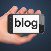 SEO web development concept: Blog on smartphone — Stock Photo